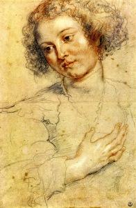 """Rubens, """"Head and right hand of a woman"""", from Wikipaintings.com"""