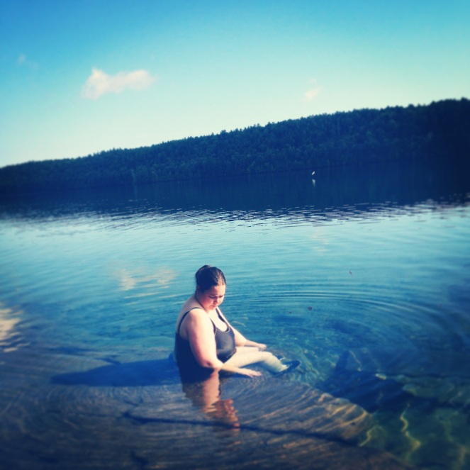 Me, daring to be a fat person in a lake. Copyright Elizabeth Hawksworth